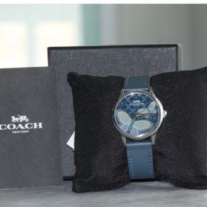 Authentic COACH leather strap butterfly dial watch